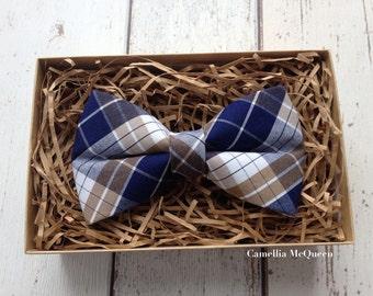 Men's bow tie, boys' bow tie, navy and brown tartan bow tie