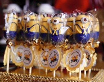 Personalized Minion inspired Cake Pops