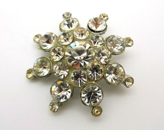 Vintage Rhinestone Sparkle Snowflake Pin Brooch