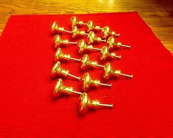 Lot of 17 Heavy Brass Door Drawer Knobs DIY project