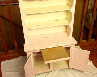 Vintage Pink Wooden Child's Cupboard Play Pretend Kitchen