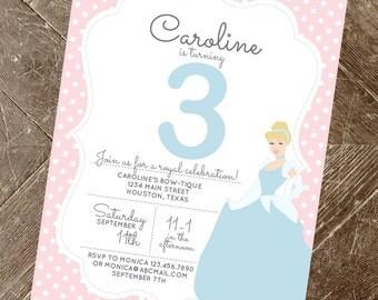 Printable Cinderella Invitation   Princess Invitation   Printable Cinderella Birthday Invite