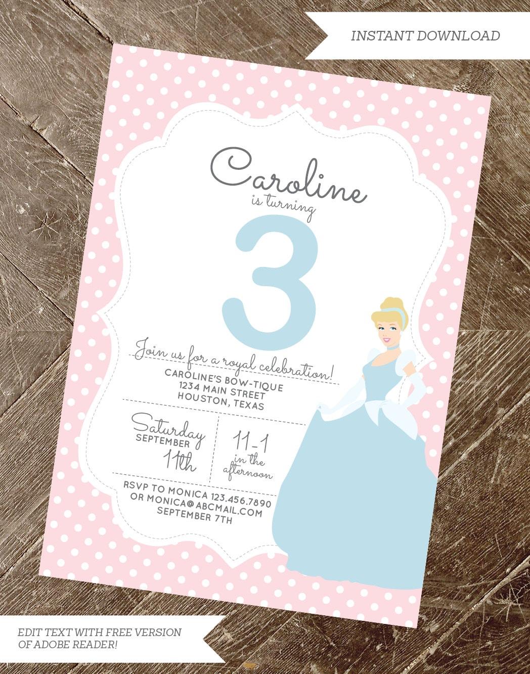 Printable Cinderella Invitation Princess Invitation