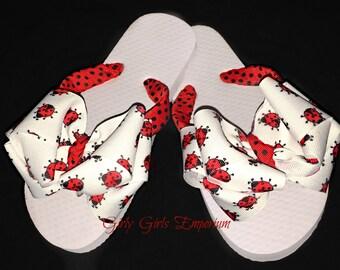 Ladybug  Bow Flip Flops READY TO SHIP
