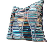 "Designer Bohemian DNA Helix Multicolor Texture Chenille Pillow Cover, Fits 12x18 12x24 14x20 16x26 16"" 18"" 20"" 22"" 24"""