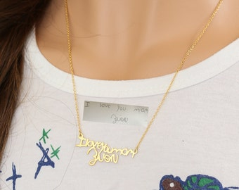 Hand Cut Hand Written Necklace, Custom Word Pendent, Personalized Handwriting Necklace,Memory Signature Gift, Mom Necklace