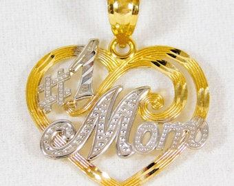 "14k Gold ""#1 Mom"" Pendant"