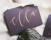 Modern Calligraphy Aubergine Purple Place Cards with Gold Ink   Wedding   Party   Rehearsal Dinner   Escort Cards   Birthday   Special Event
