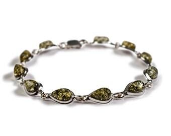 Henryka Green Amber and Silver Teardrop Link Bracelet