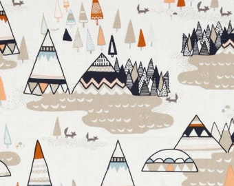 Pillow for child with mountains and teepee in the colors grounds land, Brown, taupe, orange, blue in scales of Saracens biological