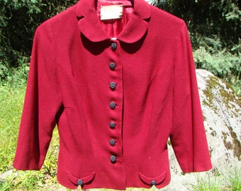 1940s Burgundy Wool Jacket Size 12 - Dior New Look Styling