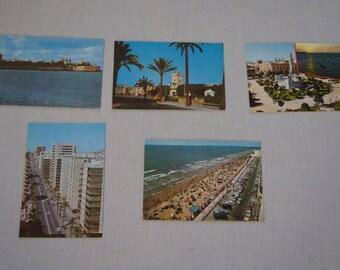 Vintage 1970's - Blank Linen Cadiz Spain Postcards Set of 5