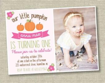 Little pumpkin invitation, little pumpkin first birthday, pink little pumpkin invitation, fall birthday invitation, pumpkin photo invitation