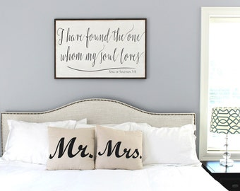 i have found the one whom my soul loves framed wood sign 24x36