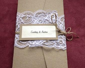 Rustic lace pocketfold invitation
