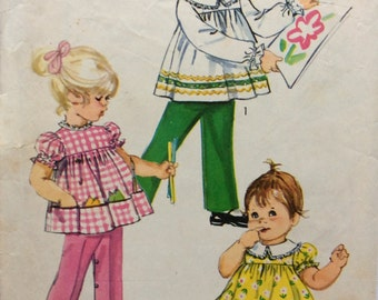 Simplicity 9090 vintage 1970's girls top, pants & bloomers sewing pattern size 1