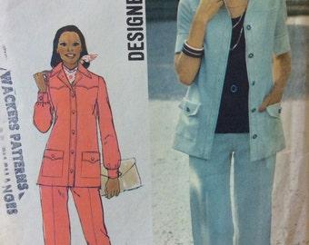 Simplicity 6405 misses shirt-jacket and pants size 12 bust 34  Designer Fashion vintage 1970's sewing pattern