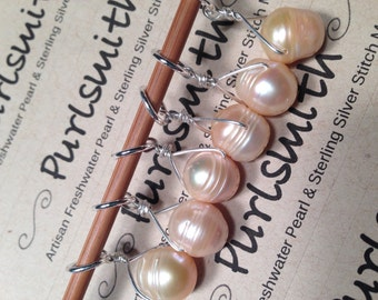 Peach Freshwater Pearl & Sterling Silver Stitch Markers for Knitting,Set of 6,Knitting Notions, Gift for Knitter