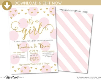 It's a Girl Baby Shower Invitation • Pink and Gold Heart Baby Shower Invite • Instant Download Baby Sprinkle Printable