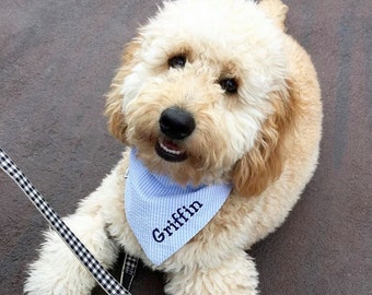 Blue Seersucker Pet Bandana || Preppy Pooch || Light Blue White Seersucker || Southern Classic || Tie Dog Pupdana || Puppy Gift || Three