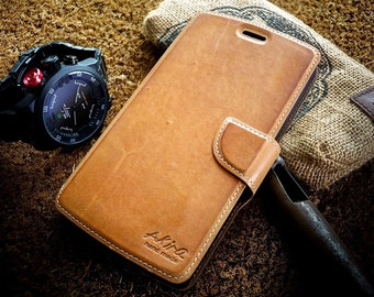 Akira Handmade Genuine Leather Wallet Case Cover Skin Case For LG G4 S Book Brown