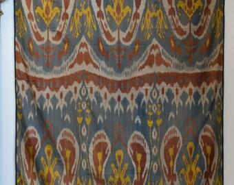 Antique IKAT Fabric, Decorative Textile, Uzbekistan Works of Art