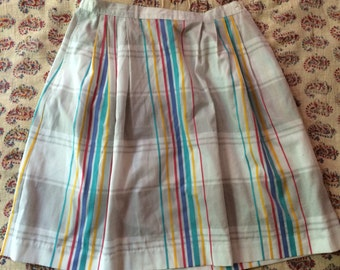 Lightweight cotton plaid skirt