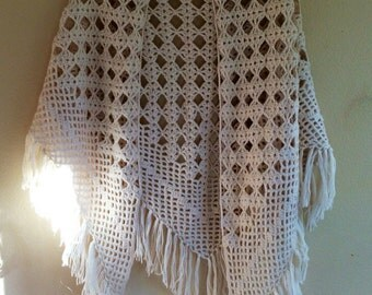Off white crocheted shawl