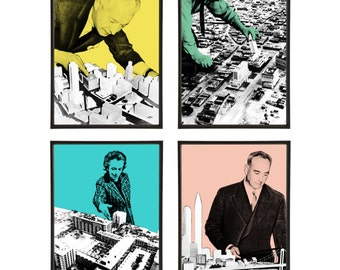 Architects God Complex Group of 4 Pop Art Prints MidCentury Modernism Modernist Architecture American City New York Brooklyn Los Angeles