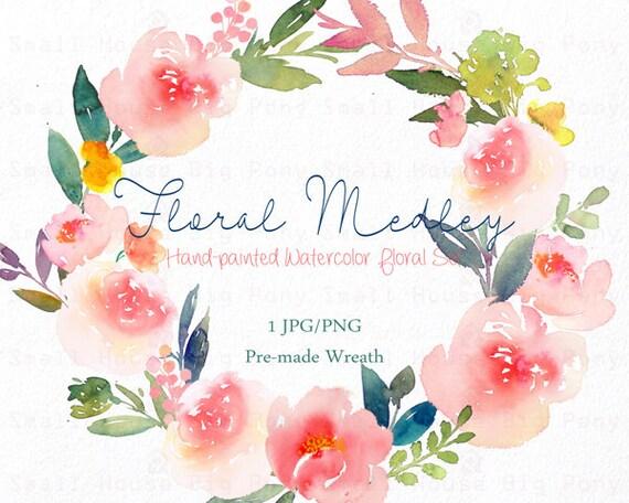 Digital Clipart- Watercolor Flower Clipart, peonies Clip art, Floral Bouquet Clipart, wedding flowers clip art- Floral Medley Wreath