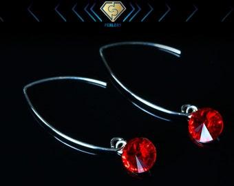 Swarovski Dangle Earings, Siam Red Earrings, Silver Dangle Earrings, Swarovski Crystal Earrings.