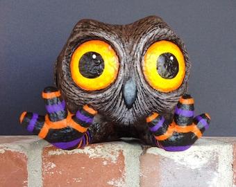 Halloween Owl Paper Mâché Sculpture