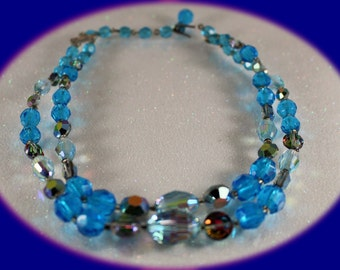 Vintage Crystal Statement Chocker/Necklace Baby Blue and Green Blue  Double Strand Necklace Vintage Jewelry