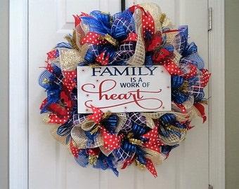 Summer deco mesh wreath, family sign, summer wreath, front door wreath, mesh wreath
