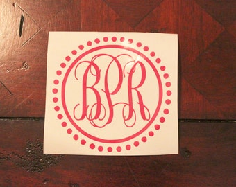 Dot Framed Monogram Decal