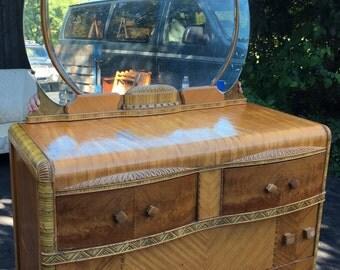 Art Deco retro dresser with oversized mirror bedroom furniture storage masculine