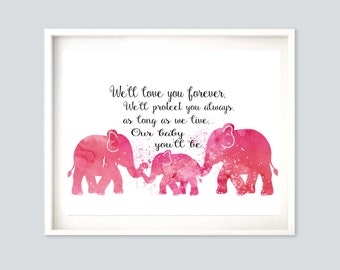 Girls Nursery Decor Girls Room Decor Pink A2 Poster Nursery Poster Wall Art A2 Poster Printable A2 Nursery Printable  Elephant Nursery Decor
