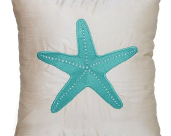 Starfish Pillow Nautical Off-White Pillow Accent Couch Sofa Pillow Coastal Starfish Pillow Cream Nautical Pillow Starfish Pillow