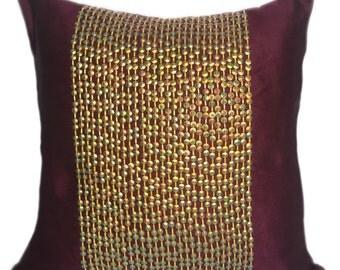 Plum Pillow Decorative Pillow Cover Gold Sequin Pillow Plum Gold Pillow Plum Decor 16x16 18x18 20x20 22x22 Sequin Cushion Plum Accent Pillow