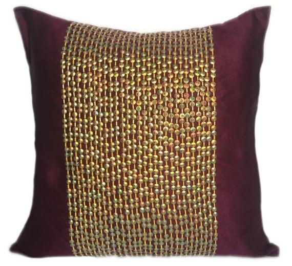 Plum Pillow Decorative Pillow Cover Gold Sequin Pillow Plum