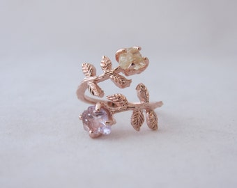 Rose gold twisted leaf ring with lemon quartz and pink amethyst rough gemstones
