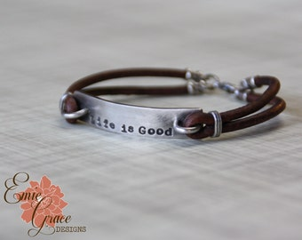 Men's Leather Personalized Bracelet, Sterling Silver Bar, Personalized Jewelry, Rustic Hand Stamped Message, Center Bottom Typewriter