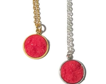 Red Druzy Necklace | Ruby Red necklace, gold necklace, silver necklace Caroline