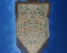 Vintage 1920's Metal Mesh Enameled Art Deco Purse Bag