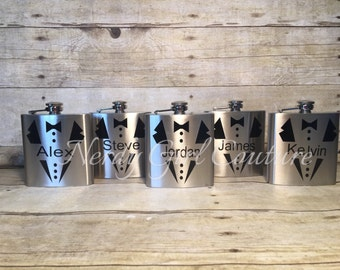 Groomsman Flask, 6 ounce - Stainless Steel Personalized Flask - Wedding Flask - Wedding Party Favors