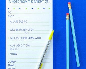 Parent Notepad, School, School Notes