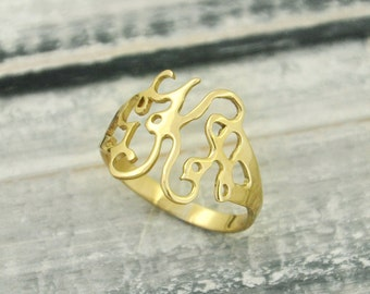 Alloy Ring, Monogram ring, initials ring monogram, Cut Out 3 Initials Monogram Ring , Personalized ring