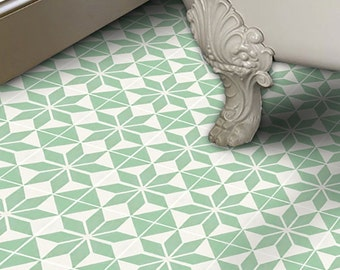 Vinyl Floor Tile Sticker - Floor decals - Carreaux Ciment Encaustic Scandinava Tile Sticker Pack in Lichen