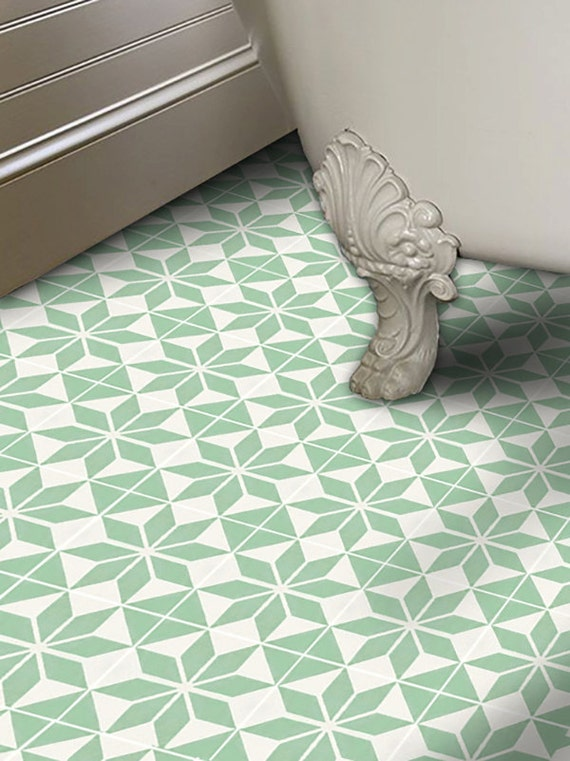 Vinyl floor tile sticker floor decals carreaux ciment for Floor stickers