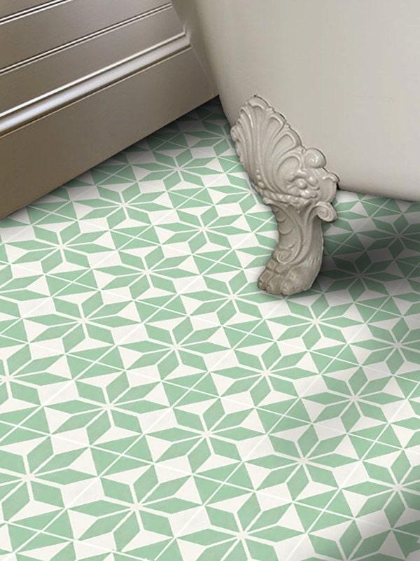 Vinyl floor tile sticker floor decals carreaux ciment for Vinyl square floor tiles
